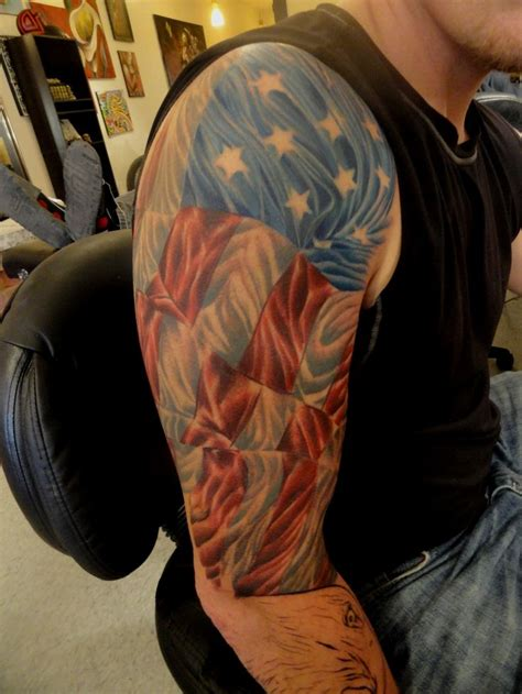 american flag sleeve tattoos american flag tattoos i done