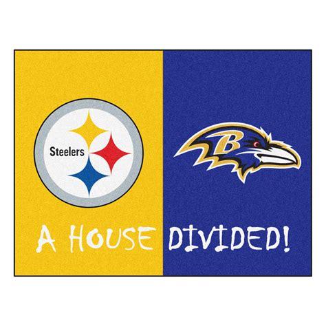 steeler rugs steelers ravens nfl house divided area rug 34 x 45