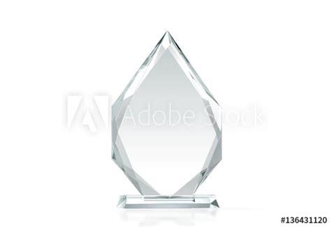 Blank Arrow Shape Glass Trophy Mockup 3d Rendering Empty Acrylic Award Design Mock Up Create A Plaque Template