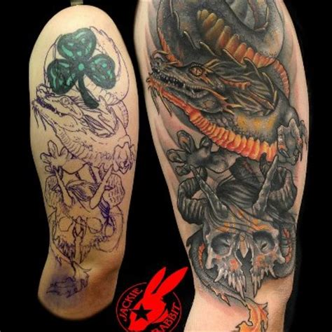 tattoo cover up dragon dragon and skull cover up tattoo by jackie rabbit by