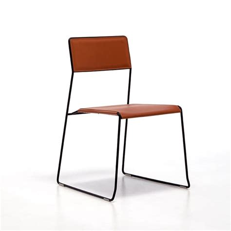 metal chairs seat and backrest in regenerated leather