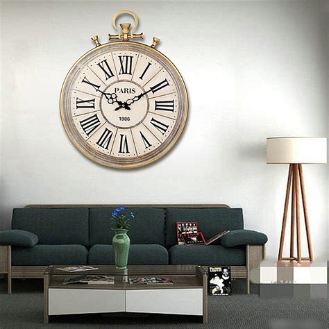 living room clock large round vintage pocket watch style roman numerals wall