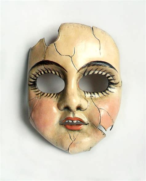 china doll mask cracked porcelain doll leather mask possibly the