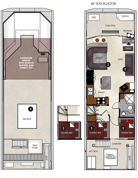 pontoon houseboat floor plans floor plan 48 ft navigator houseboat lake powell