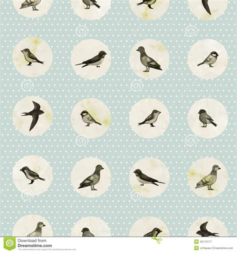 cute little pattern vintage seamless pattern with cute little birds stock