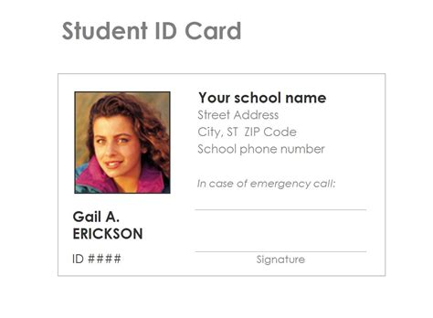 student id card template free student identification card template