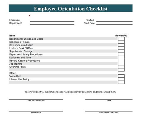 new employee template new employee orientation checklist template word and excel