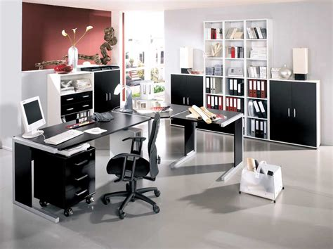 modern home office design with black and white furniture