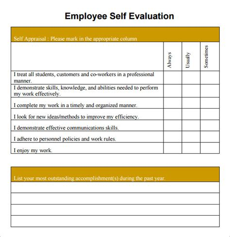self evaluation template for employees sle employee self evaluation form 14 free documents