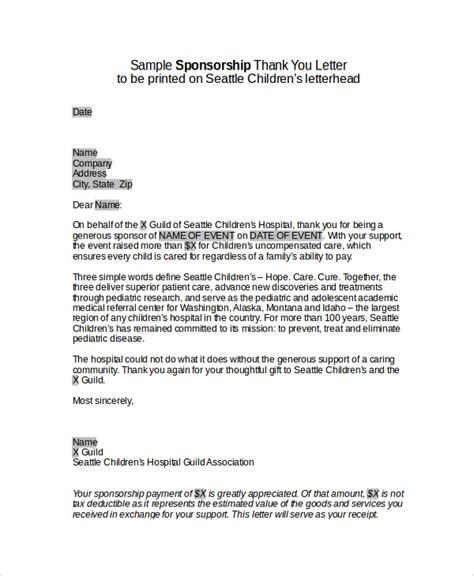 sponsorship thank you letter template sle sponsor thank you letter 26 documents