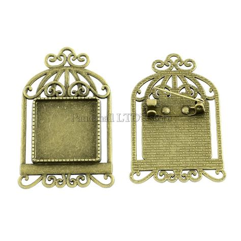 aliexpress buy bird cage tibetan style brooch cabochon settings with iron back bar pins