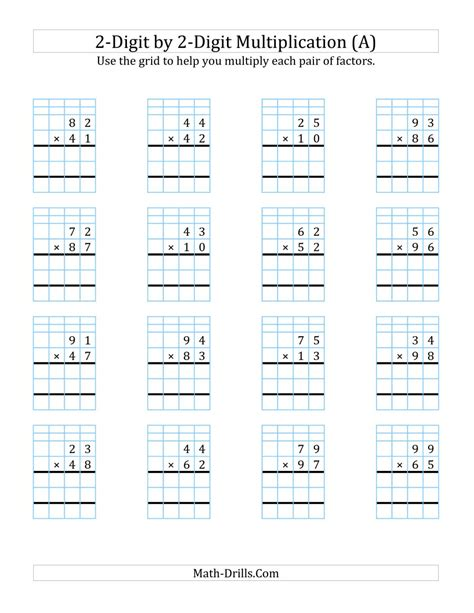2 X 2 Multiplication Worksheets by 2 Digit By 2 Digit Multiplication With Grid Support A
