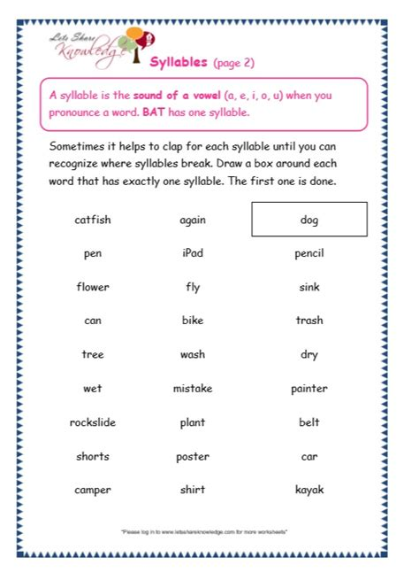 syllables worksheets 1st grade grade two worksheets for syllables best free printable worksheets
