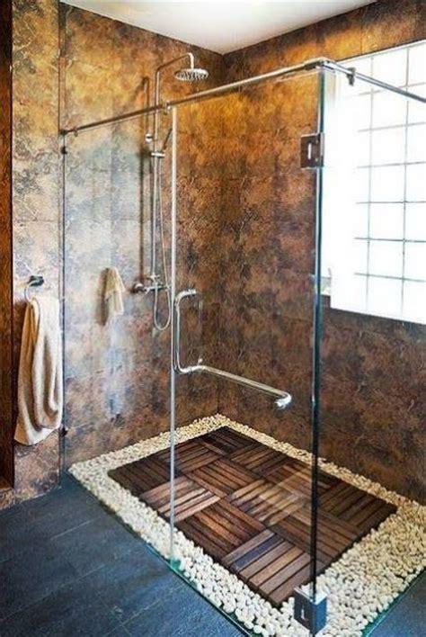 river rock shower floor bathroom remodel custom shower designs bringing nature into modern homes