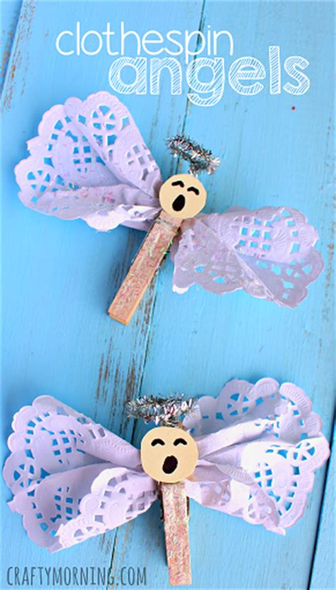 Holiday Craft Projects - clothespin angel craft using doilies crafty morning