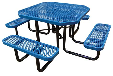 metal picnic tables 46in octagonal expanded metal picnic table