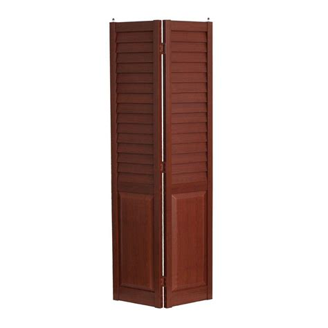 home fashion technologies 28 in x 80 in 3 in louver panel cherry composite interior bi fold
