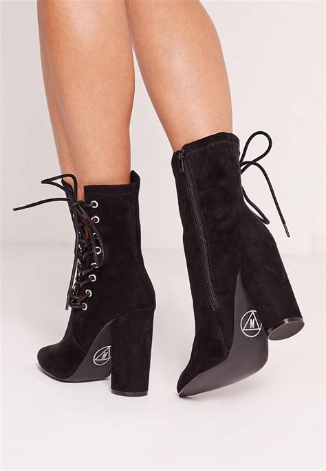 Lace Up Ankle Boots by Black Faux Suede Eyelet Lace Up Heeled Ankle Boots