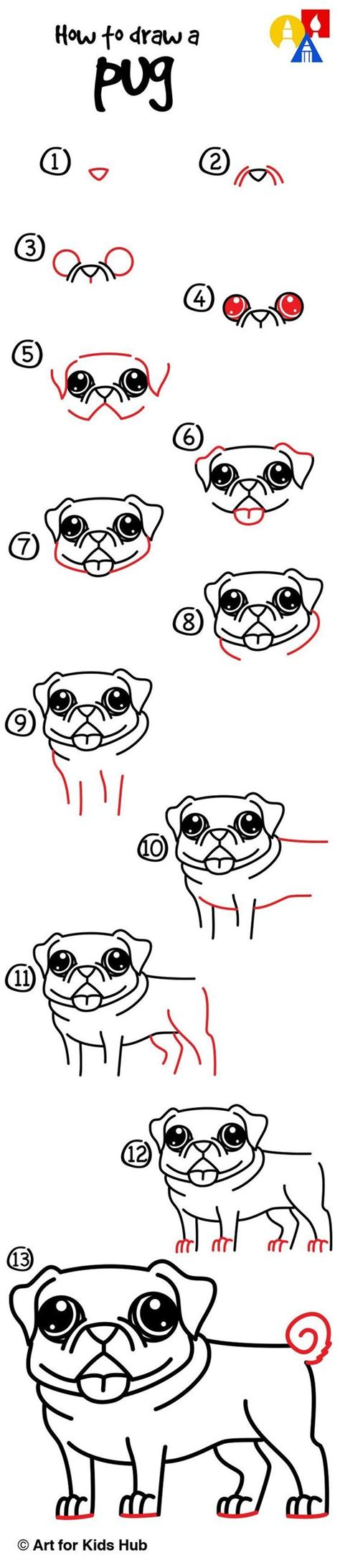 how to draw pugs step by step how to draw a pug for hub