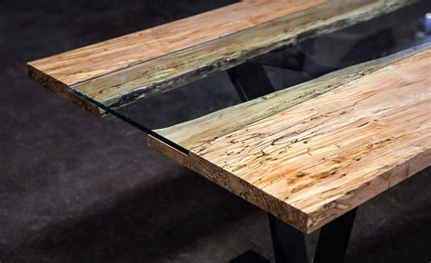 colorado woodworking colorado live edge maple and glass dining table sentient