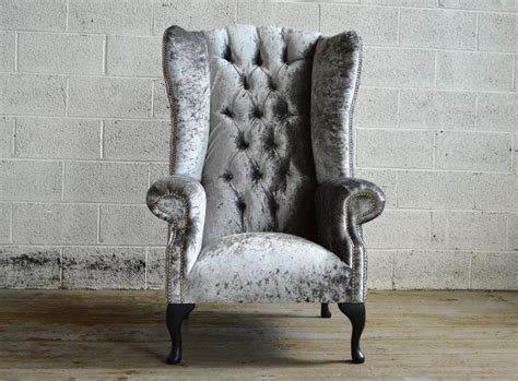 Silver Armchair Audley Velvet Chesterfield Wing Chair Abode Sofas