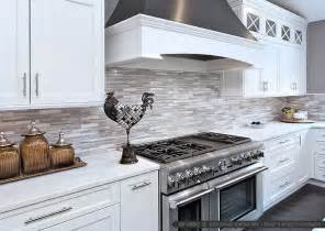 Marble Subway Tile Kitchen Backsplash - white modern kitchen with marble subway tile backsplash