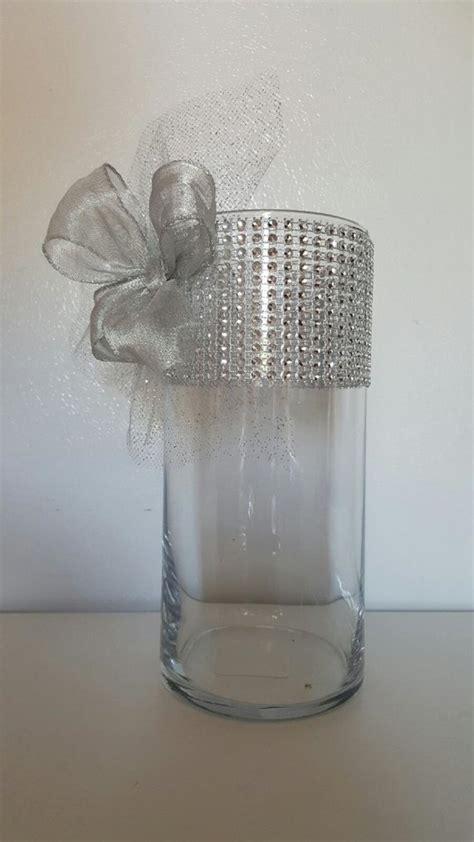 floreros dollar tree rhinestone organza and ribbon vases wedding centerpiece bridal