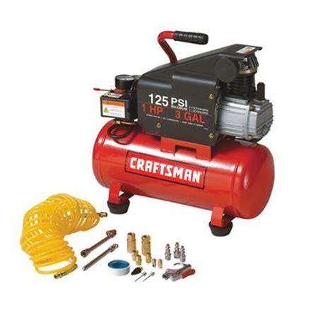 craftsman air compressor 3 gal horizontal 120v 125 psi max 2 4 cfm at 90 psi ebay