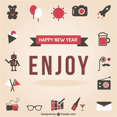 happy new year icons happy new year set of icons vector free