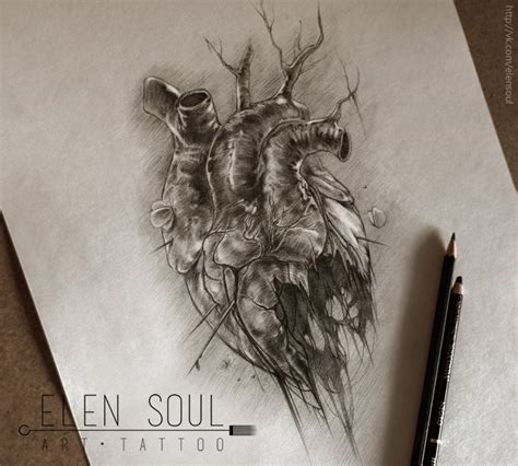 heart and soul tattoo black with wings design by