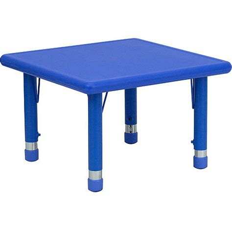 Walmart Plastic Tables by Adjustable Height Square Plastic Activity Table 24 Quot Blue