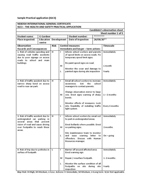 practical report template nebosh practical sle 22
