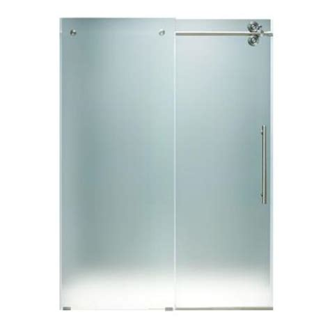 Frameless Glass Shower Doors Home Depot Vigo 60 In X 74 In Frameless Bypass Shower Door In Stainless Steel With Frosted Glass