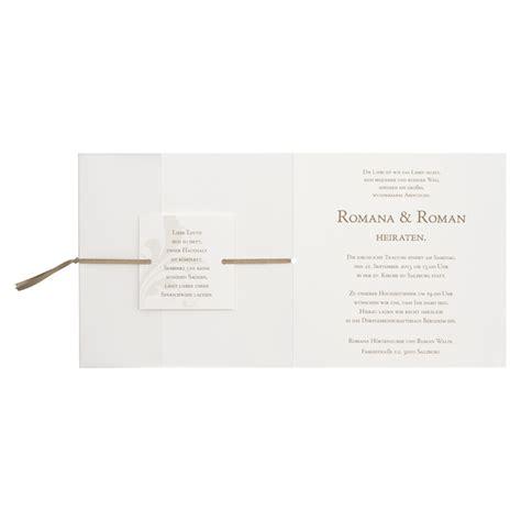 Hochzeitseinladungen Mit Band by Bedruckte Hochzeitseinladung Mit Ranke In Pergamentpapier