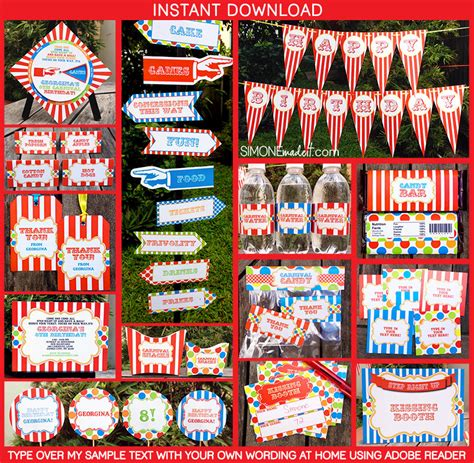 free printable circus party decorations carnival party theme printables invitations decorations