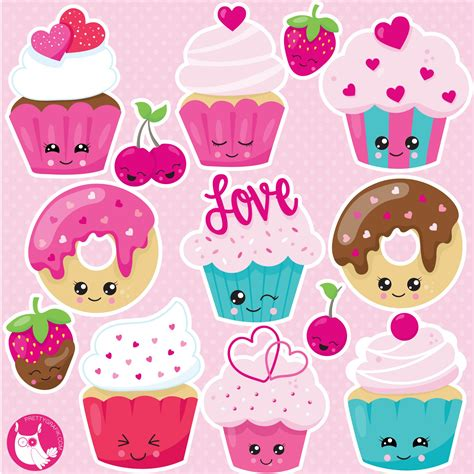 kawaii cupcake clipart prettygrafik store