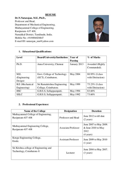Resume Format For Engineering Professors Resume Dr N Natarajan 14 03 2014