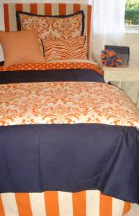 auburn spirit orange and blue designer dorm bedding set