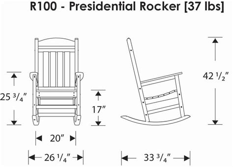 Rocking Chair Dimensions by Polywood 174 R100 Presidential Rocking Chair Polywood Furniture