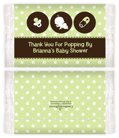 Baby Shower Popcorn Wrappers by Modern Baby Green Polka Dots Baby Shower Popcorn Wrappers