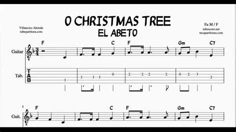 o christmas tree in f major tabs sheet music for guitar