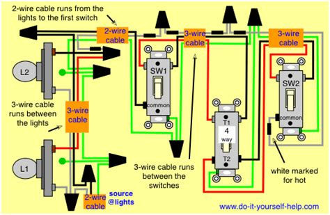3 way and 4 way wiring diagrams with lights do