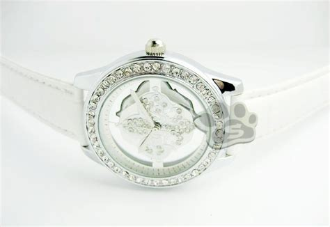Jam Tangan Wanita Bulgari Ungu guess flower glass leather white style
