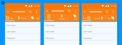 how to create a text on android how to make custom tabs with text icons in android mobikul