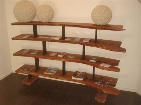 cherry and steel shelving unit contemporary display