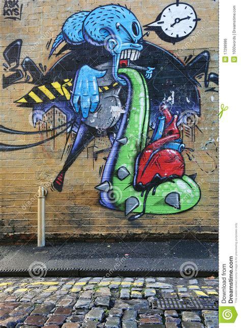 surreal graffiti   city wall editorial photo image