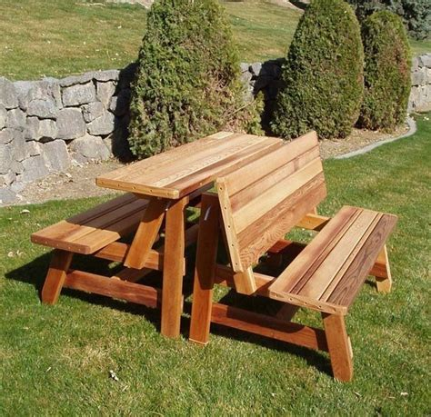 cool folding garden bench picnic table plans design home inspirations