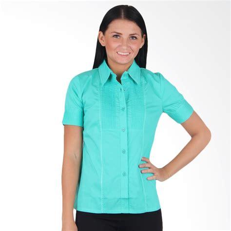 Shirt Tosca Kemeja Wanita Kemeja Wanita Bunga jual adore kemeja lengan pendek hijau tosca harga kualitas terjamin blibli