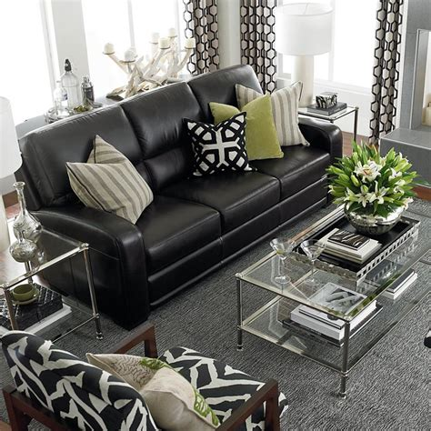 Living Room With Black Sofa Black Leather Sofas On Reclining Sofa Modern Leather Sofa And White Leather Sofas