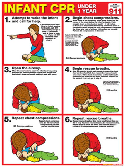 printable cpr poster cpr chart infant paper
